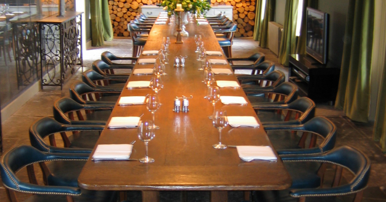 Refectory oak table and club chairs