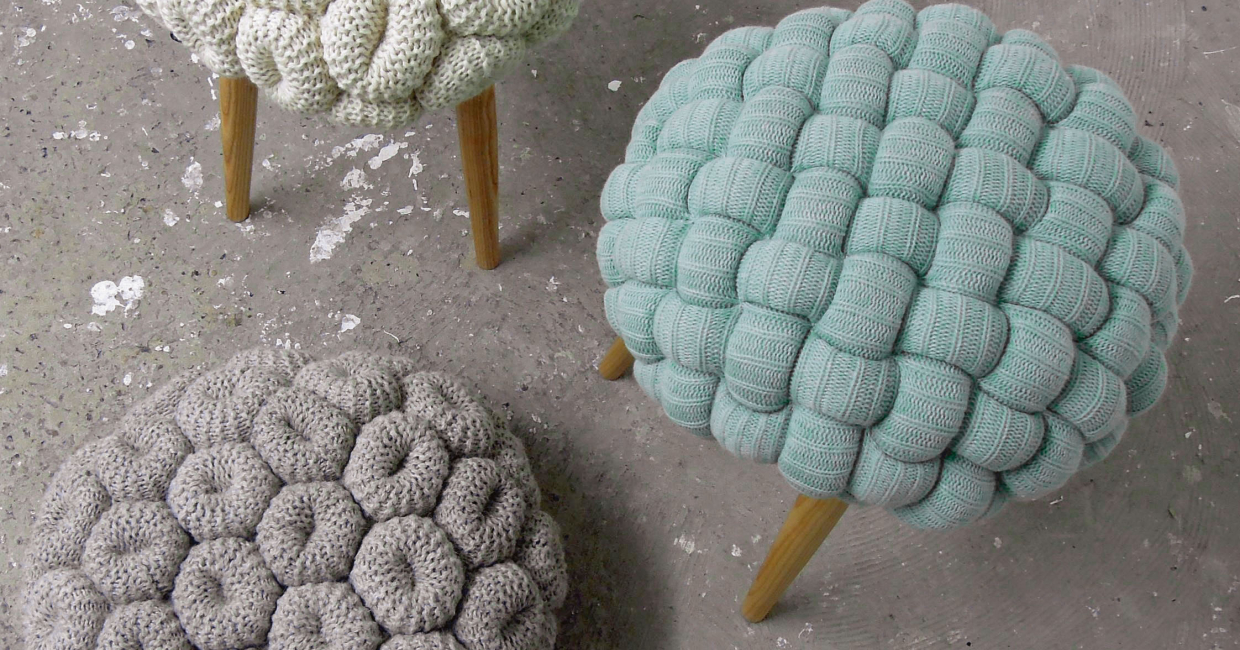 Knitted stools by Claire Anne O'Brien