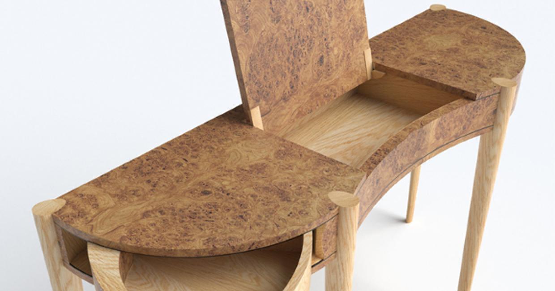 Burr oak console table, David Wilson