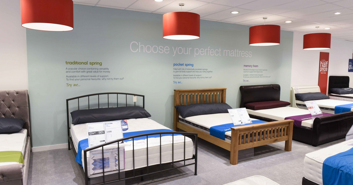 Carpetright's Comfort Station invites customers to relax and try out the three mattress types available