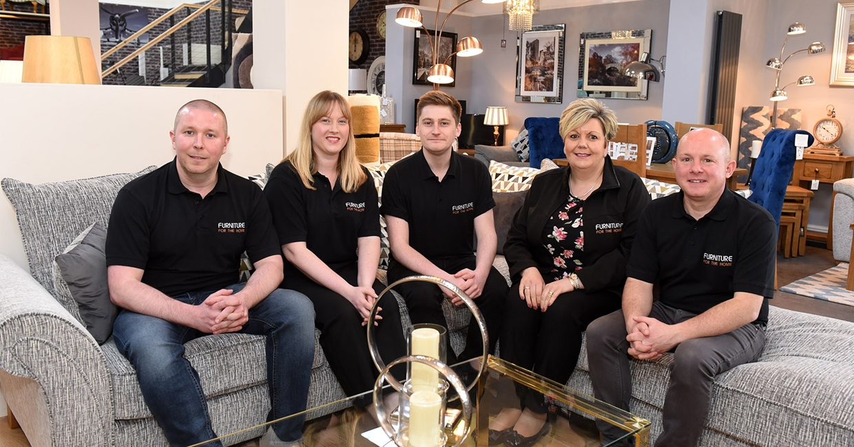 From left: Furniture For The Home MD Simon Foster; shop supervisor Lauren Jones; online manager David Cole; shop manager Teresa Price; and operations manager Ross Stephenson